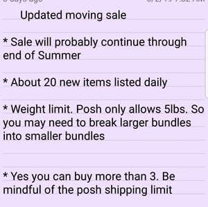 PLEASE SHARE --3 for $12.00 moving sale MOST items